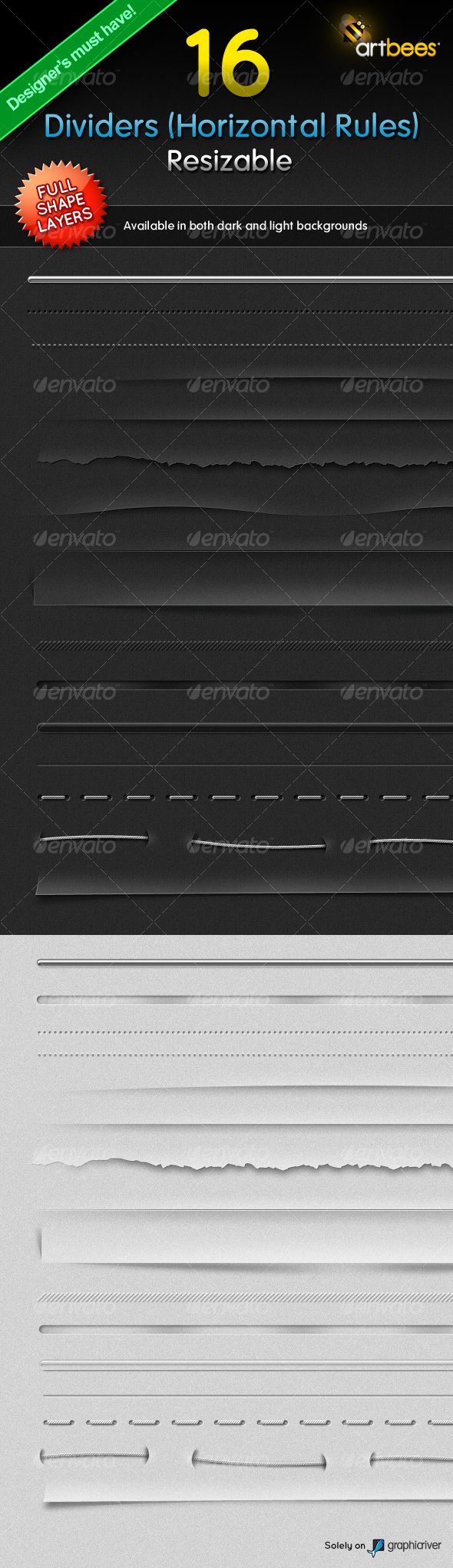 GraphicRiver 16 Dividers Horizontal Rules Resizable 117475