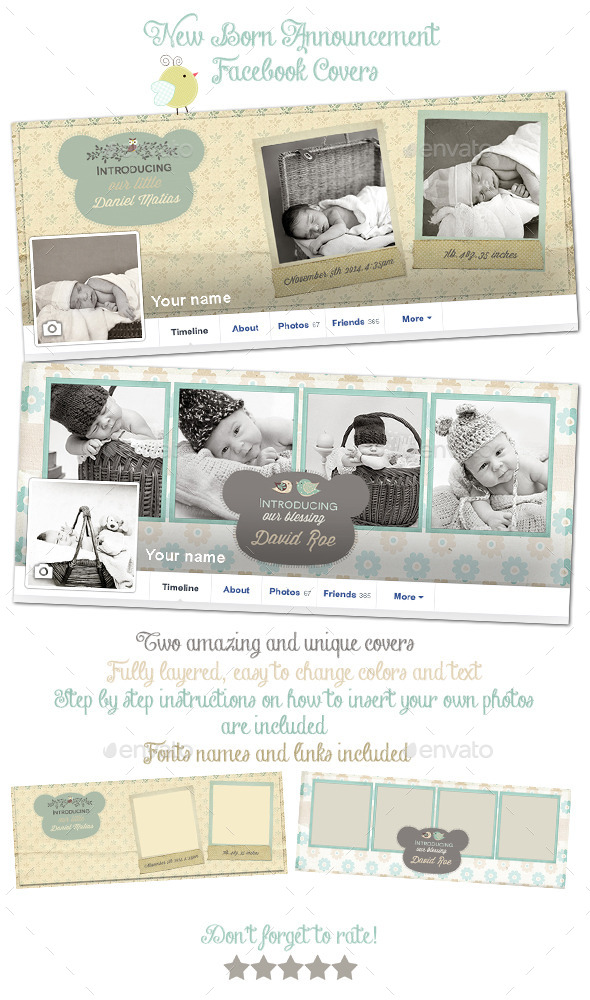 GraphicRiver New Born Announcement Facebook Covers 9090069