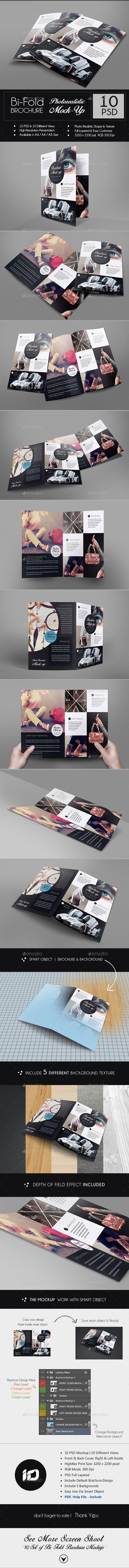 GraphicRiver Realistic A4 A3 Bi-Fold Brochure Mock-Up 9090406