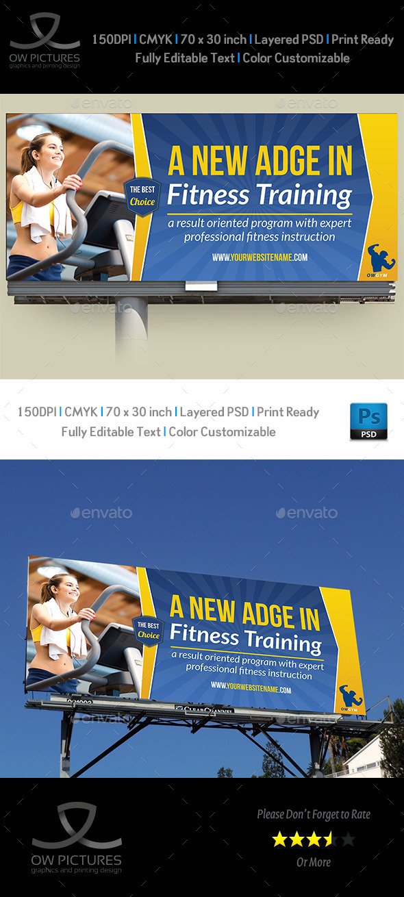 GraphicRiver Fitness GYM Billboard Template 9090734
