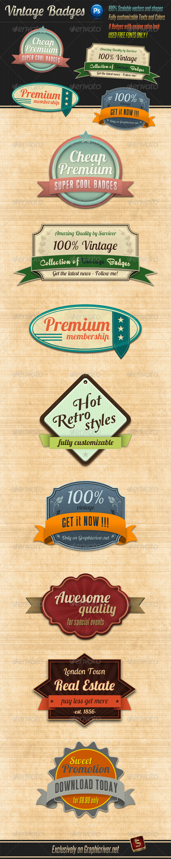 Retro Vintage Badges - Badges & Stickers Web Elements