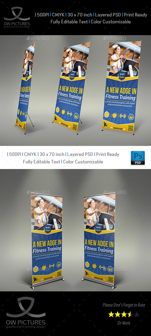 GraphicRiver Fitness GYM Rollup Signage Banner Template 9091045