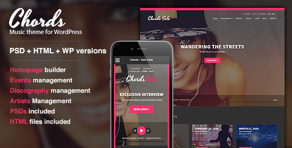 Chords Music Artist Radio WordPress theme