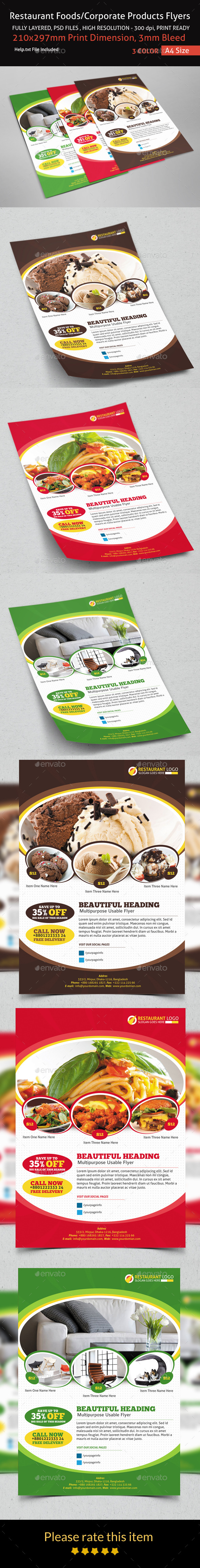 GraphicRiver Restaurant Foods Corporate Products Flyers 9091281