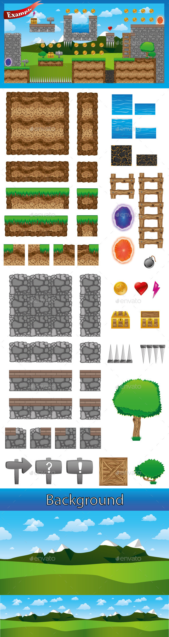 GraphicRiver Platformer Game Tileset 9091446