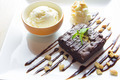 Brownie with ice cream on the dish - PhotoDune Item for Sale