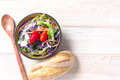 Fresh healthy salad on wooden table - PhotoDune Item for Sale
