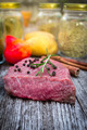 Raw beef steak on old wood - PhotoDune Item for Sale