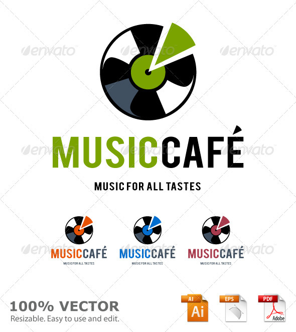 Music cafe logo template