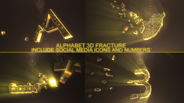 Fractured Gold 3D Alphabet And Social Icons