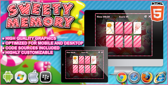CodeCanyon Sweety Memory HTML5 Game 9091974