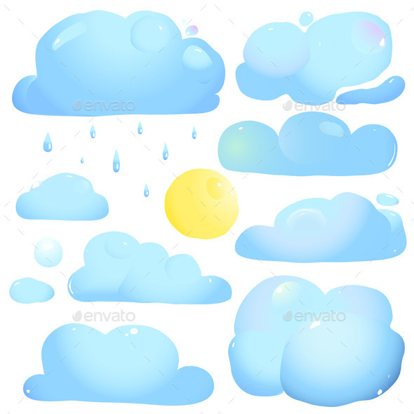 GraphicRiver Clouds Sun and Rain Drops 9092201