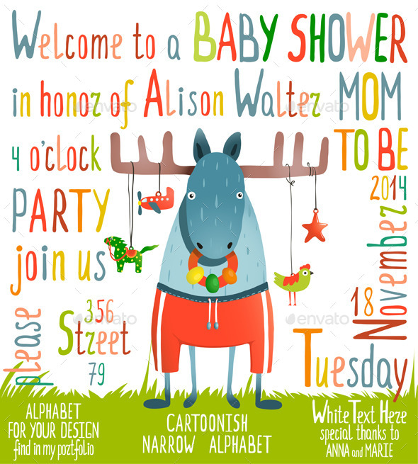 GraphicRiver Baby Shower Invitation with Animal 9092215