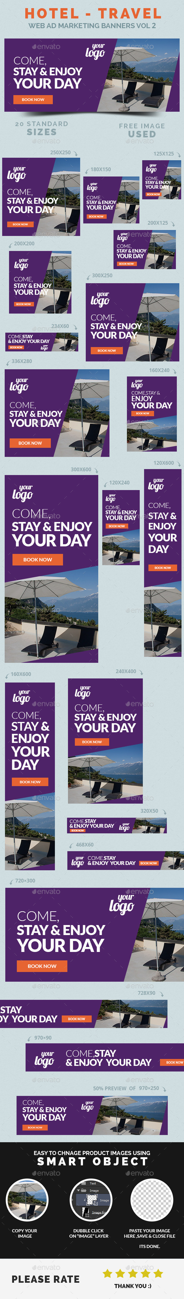 GraphicRiver Hotel Travel Web Ad Marketing Banners Vol 2 9092555