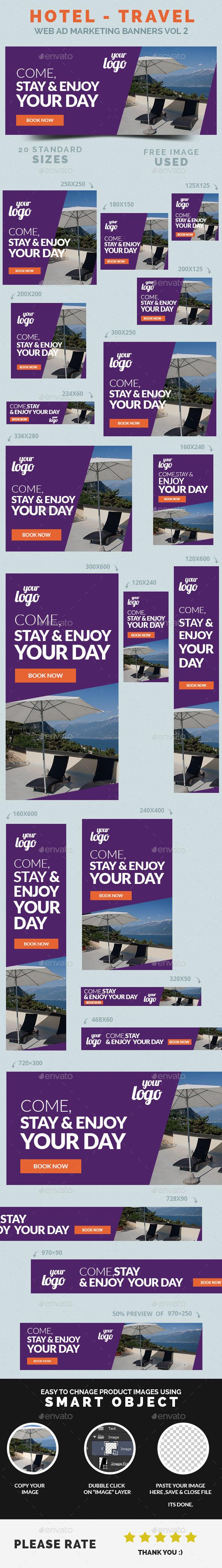 GraphicRiver Hotel Travel Web Ad Marketing Banners Vol 2 9092555
