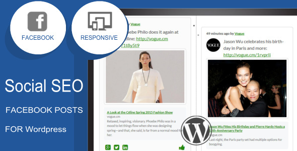 Social SEO Facebook Responsive Timeline Feed for Wordpress Use facebook as your news feed on your wordpress website. Grab the attention from your visitor and le