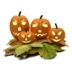 Halloween Pumpkins with Fall Leaves Isolated on White - GraphicRiver Item for Sale
