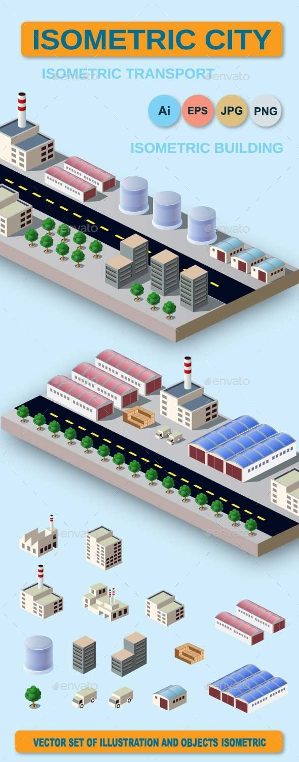GraphicRiver Illustration with Elements of Urban and Industrial 9093830