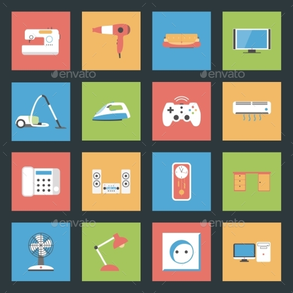 GraphicRiver Home Furniture and Appliances Flat Icons Set 9093884
