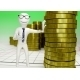White Human Character with a Stack of Coins - GraphicRiver Item for Sale