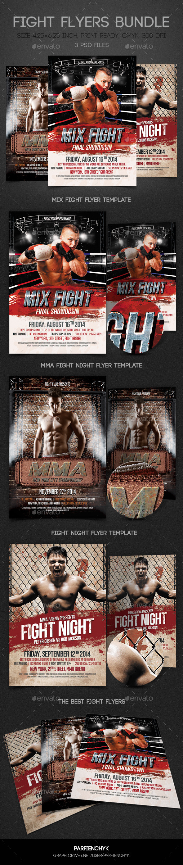 GraphicRiver Fight Flyers Bundle 9094345