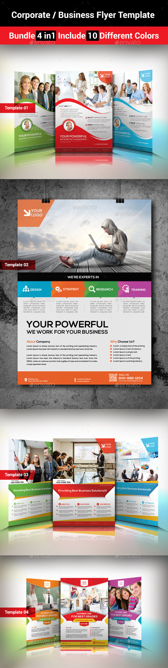 GraphicRiver Corporate Business Flyer Template Bundle 4 in1 9091475