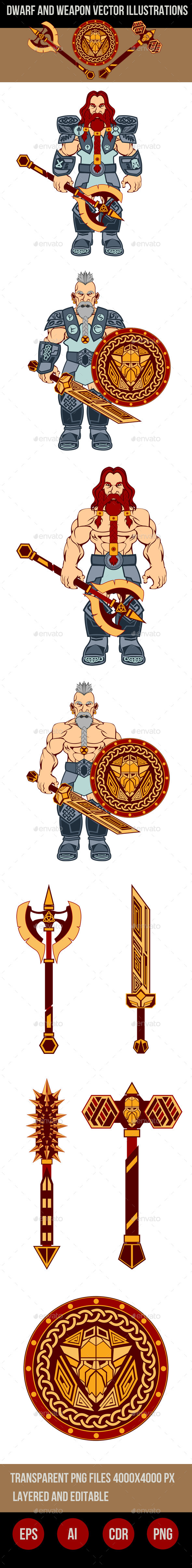 GraphicRiver Dwarfs and Weapons Vector Illustrations 9095601