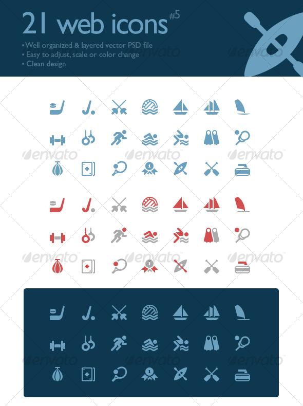 21 web icons #5 (sport symbols) - Web Icons