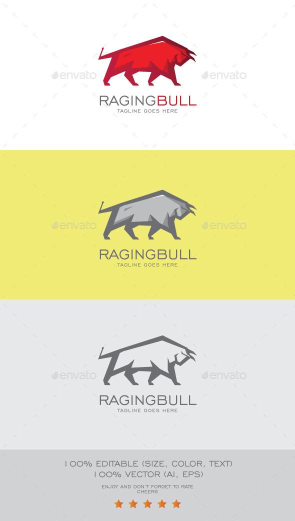 GraphicRiver Raging Bull Logo Mascot 9095930