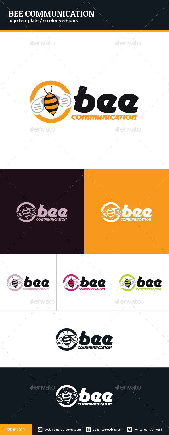 Bee Communication Logo Template - Animals Logo Templates