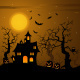 Halloween Haunted Castle with Bats Background - GraphicRiver Item for Sale