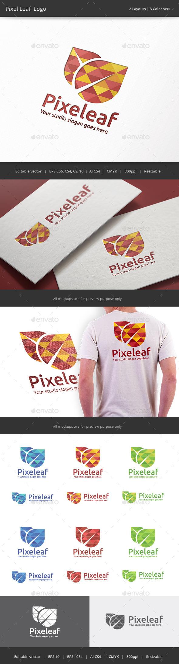 GraphicRiver Pixel Leaf Logo 9097740