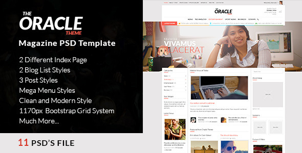 Magazine PSD Template – The Oracle Magazine PSD Template – The Oracle is a perfect magazine template for all news and blog feeds representation. Cov