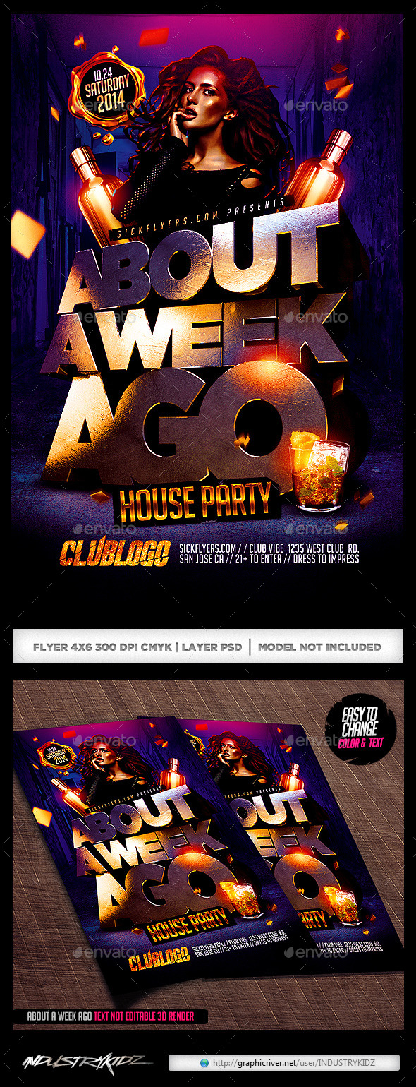 GraphicRiver About A Week Ago Party Flyer 9098334
