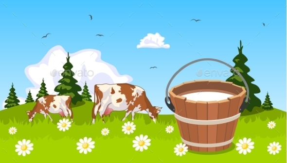 GraphicRiver Cow on Meadow with Bucket of Milk in the Foreground 9098550