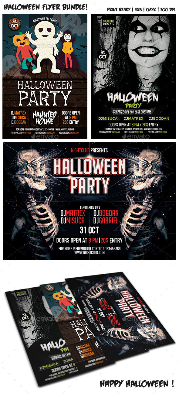 GraphicRiver Halloween Party Flyer Bundle Vol 3 9098554