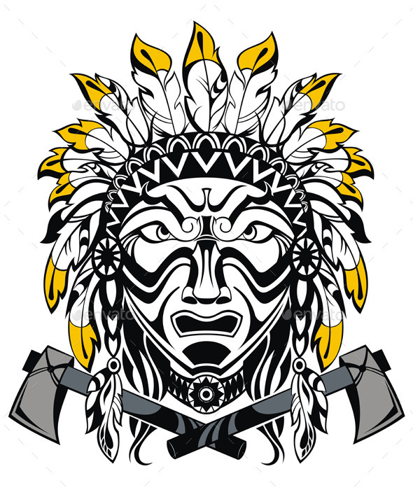 GraphicRiver Vector Illustration of Indian Man and Tomahawk 9098801