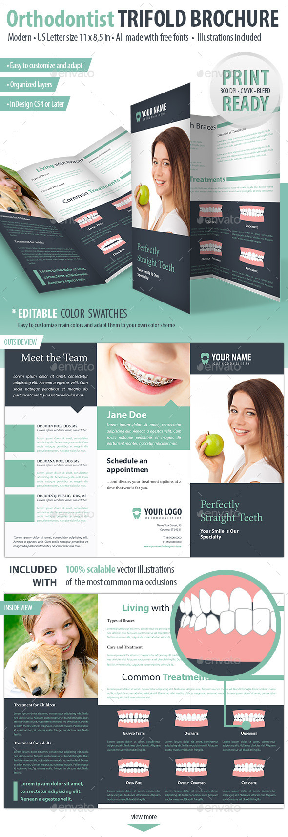 GraphicRiver Orthodontist Dental Trifold Brochure 9099140