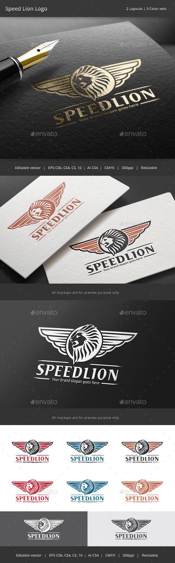 GraphicRiver Lion Wing Speed Logo 9099211