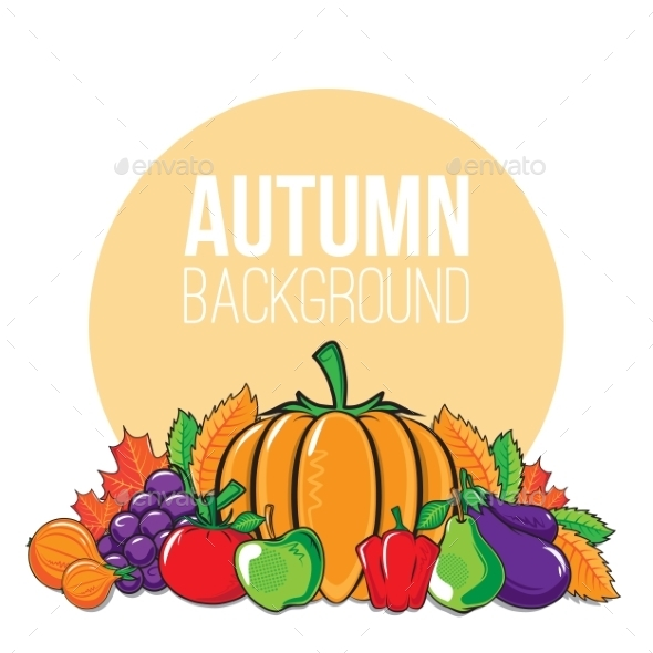 GraphicRiver Autumn Background with Vegetables and Fruits 9100479