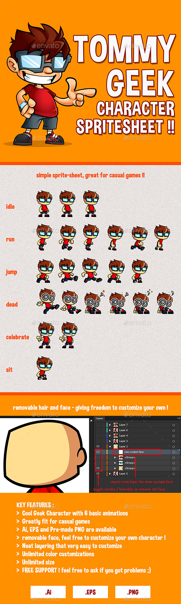 GraphicRiver Tommy Geek Game Character Spritesheet 9100525