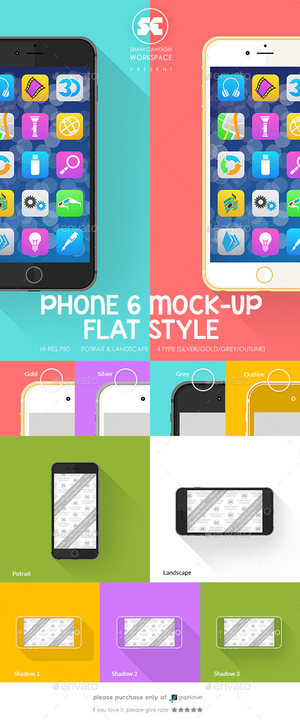 GraphicRiver Phone 6 Mock-Up Flat Style 9100783