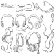 Vector Set of Sketch Headphones - GraphicRiver Item for Sale