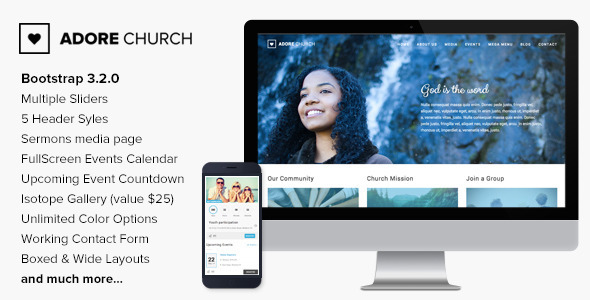 Adore Church is a full functional HTML Template designed & developed for Church, Charity, Non-Profit and Religious Websites and comes handy for Portfolio/Co
