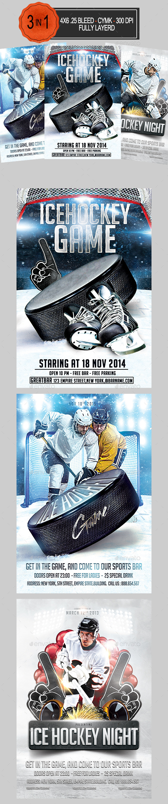 GraphicRiver 3 in 1 Ice Hockey Flyer Bundle 9102239