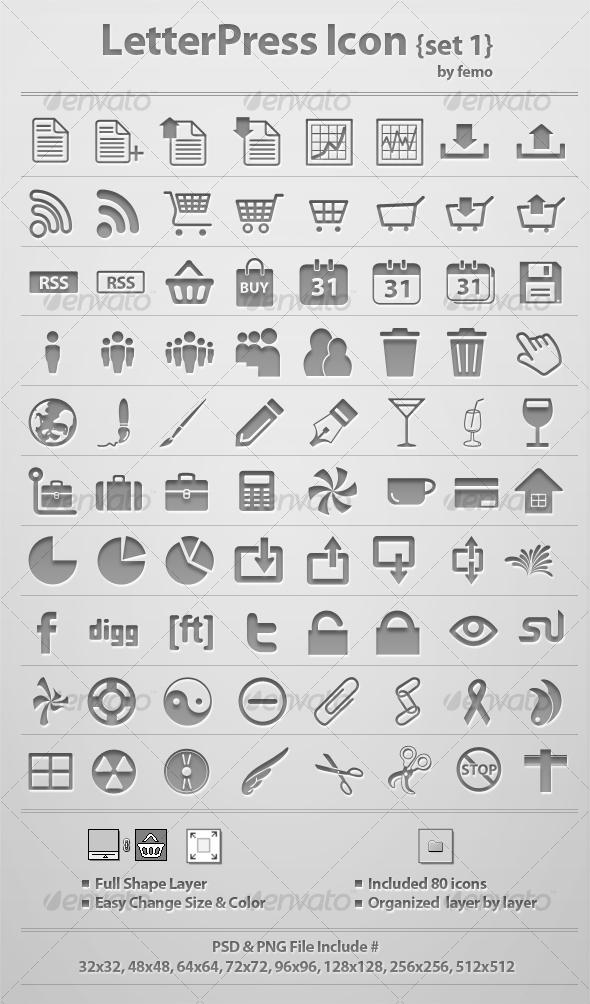GraphicRiver Letterpress Icon {Set 1} 117583
