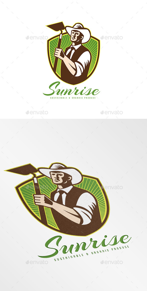 GraphicRiver Sunrise Organic Farm Produce Logo 9102493