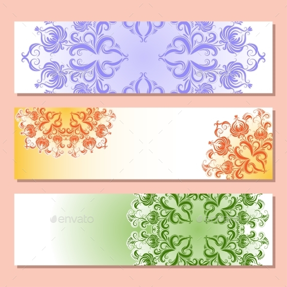 GraphicRiver Set of Three Banner with Pattern 9103124