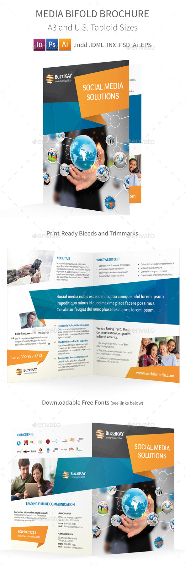 GraphicRiver Media and Communication Bifold Halffold Brochure 9103166