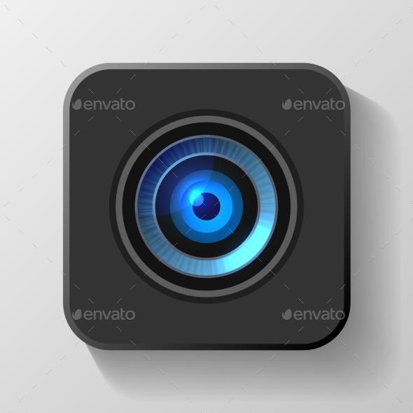 GraphicRiver Blue Camera Lens Icon on Black Vector 9103815